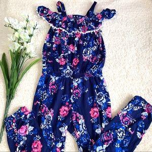One Step Up Blue Floral Cold Shoulder Jumpsuit 7/8